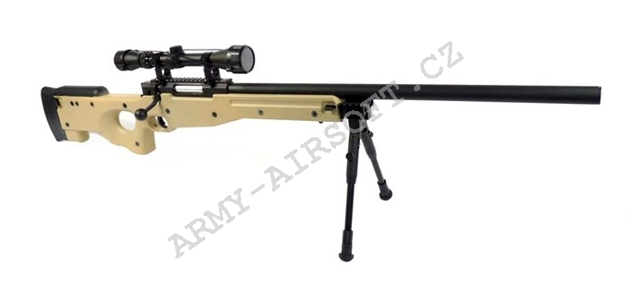 Airsoft Sniper L96 (MB-01C) TAN + optika + dvojnožka - Well