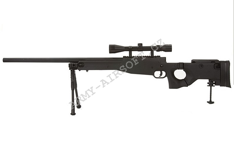 Airsoft Sniper L96D AW 338  (MB-08D BK) + optika a dvojnožka - Well