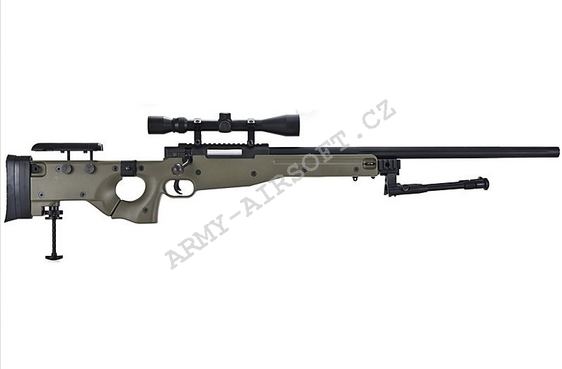 Airsoft Sniper L96D AW .338  (MB-08D) OD + optika + dvojnožka - Well